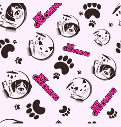 grooming pets and care seamless pattern vector image
