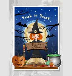 halloween night party banner with funny cute witch vector image