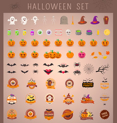 Halloween objects collection vector