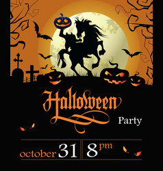 Halloween party lettering with date headless vector