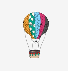 Hand drawn retro air balloon vector