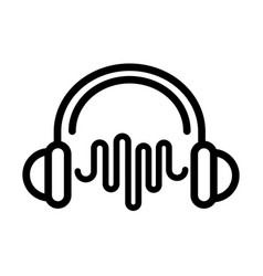 headphones wave frequency sound line style icon vector image