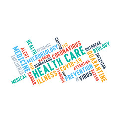 Health care word tag cloud typography on a white vector