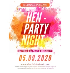 Hen-party flyer invitation design template Girls vector