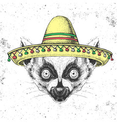 hipster animal lemur wearing a sombrero hat vector image