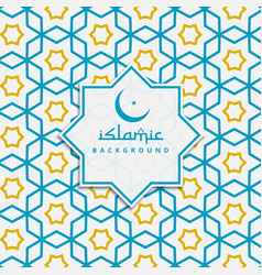 Islamic pattern background in blue and yellow vector
