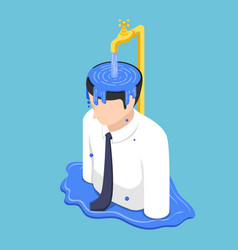 Isometric businessman head overflow by water from vector
