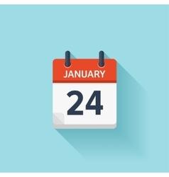 January 24 flat daily calendar icon Date vector