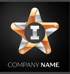 letter i logo symbol in the colorful star on black vector image