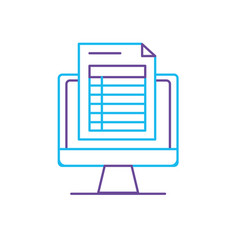 Line computer document information and business vector
