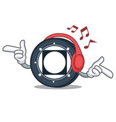 Listening music byteball bytes coin mascot cartoon vector