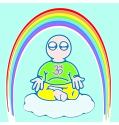 little man in meditation color version vector image