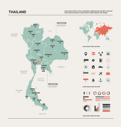 map thailand country with division cities vector image