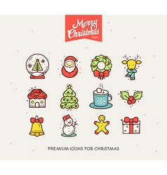 Merry Christmas Icon Set vector image
