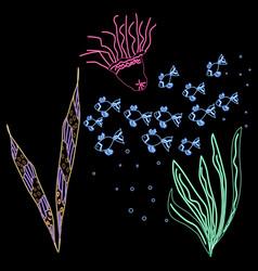 Neon style multicolor underwater vector