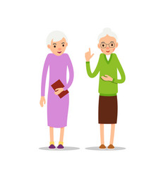 Old woman two senior elder women stand vector
