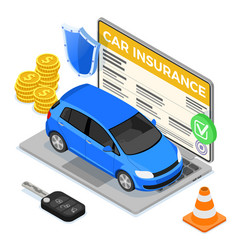 online car insurance isometric concept vector image