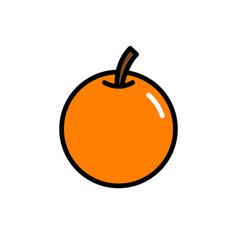 orange fruit with stem icon logo vector image