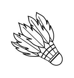 Outline shuttlecock made bird feathers vector