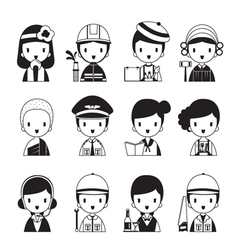People Occupations Icons Set Monochrome vector
