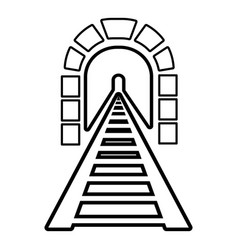 Railway tunnel icon outline style vector