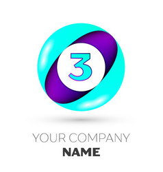 Realistic number three in colorful circle vector