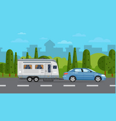 road travel poster with car and trailer vector image
