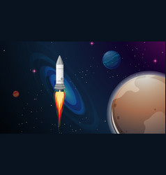 rocket and planet scene vector image