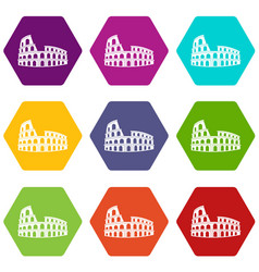 Roman colosseum icon set color hexahedron vector