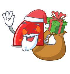santa with gift quadrant mascot cartoon style vector image
