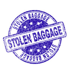 Scratched textured stolen baggage stamp seal vector