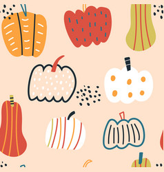 seamless pattern with creative hand drawn pumpkins vector image