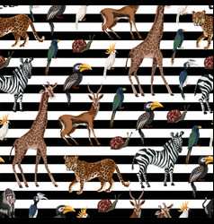 Seamless pattern with wild animals such as vector