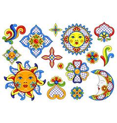 Set mexican cute naive art items vector