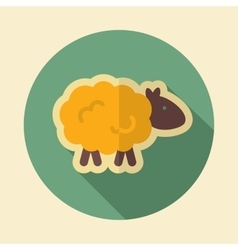 Sheep retro flat icon with long shadow vector