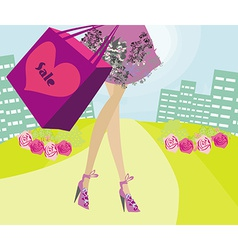 shopping girl sale card vector image