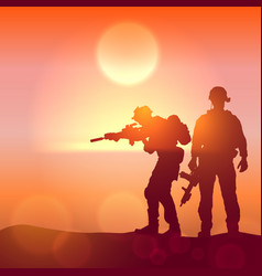 silhouette a soldiers against sunrise vector image