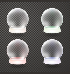 snow globe winter transparent background set vector image