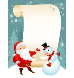 snowman and Santa vector image