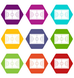soccer field icon set color hexahedron vector image