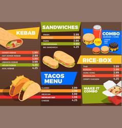 street food menu composition vector image