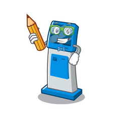 Student information digital kiosk with in cartoon vector