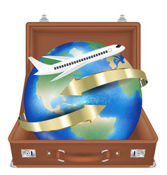 suitcase open with airplane fly around world vector image