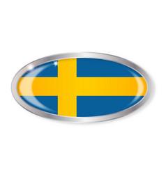 Swedish flag oval button vector