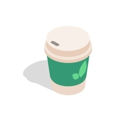 Take out tea cup icon isometric 3d style vector