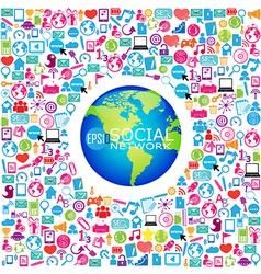 Template design Globe idea with social network vector