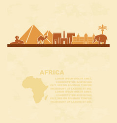 template of leaflets with the sights of africa and vector image