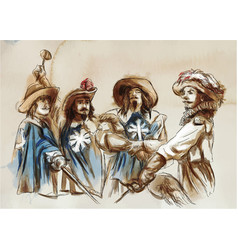 three musketeers an hand drawn freehand vector image