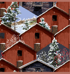 Traditional scandinavian wooden houses with vector