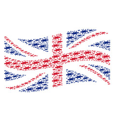 waving british flag pattern of barbed wire items vector image